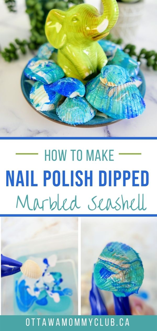 Nail Polish Dipped Marbled Seashell Decor