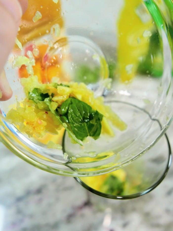 Peach Pineapple Mojito Mocktail in process