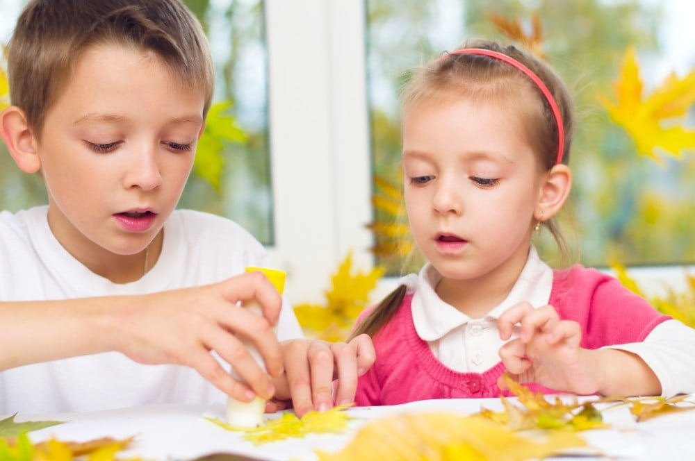 girl and boy crafting
