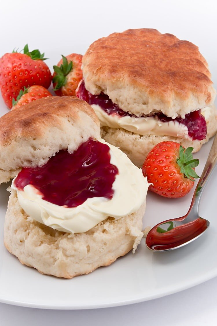 tea biscuits with jam and clotted cream