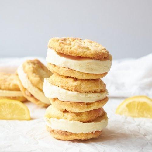 Lemon Cookie Ice Cream Sandwiches