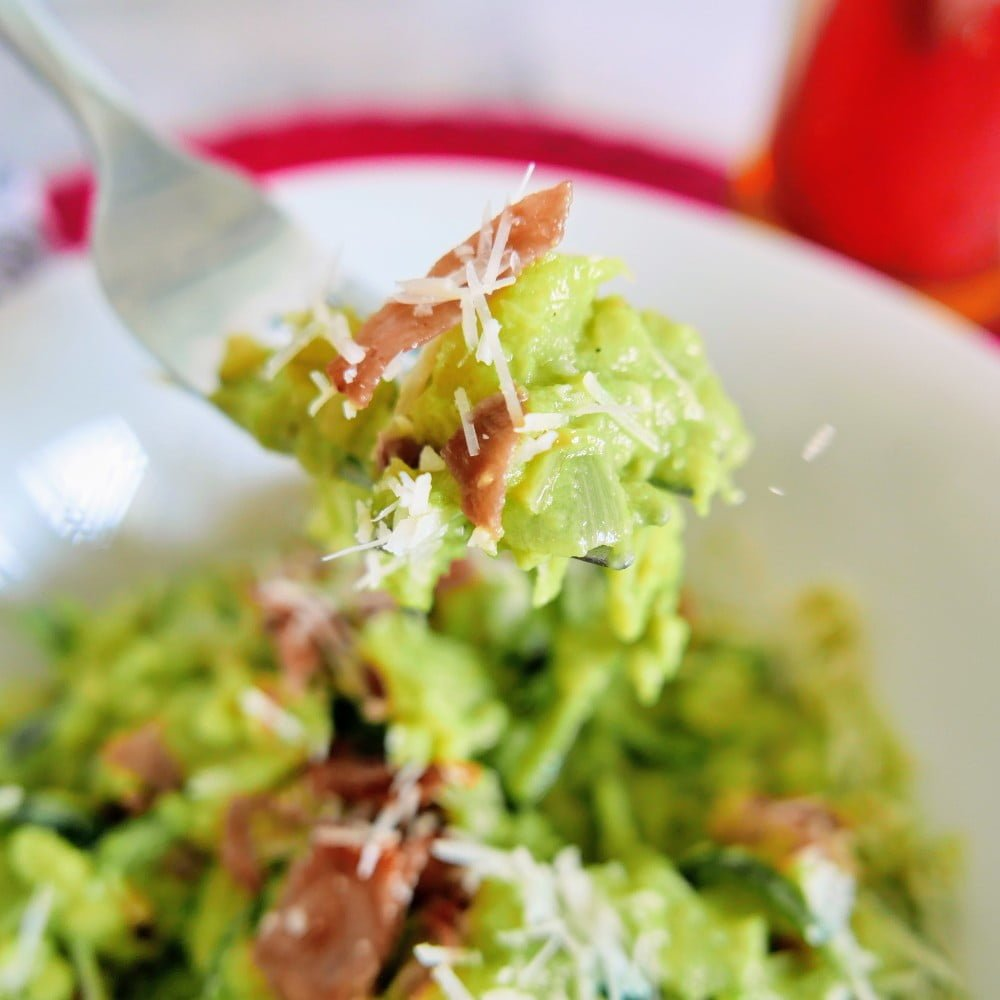 Zoodles low carb recipe with creamy avocado sauce