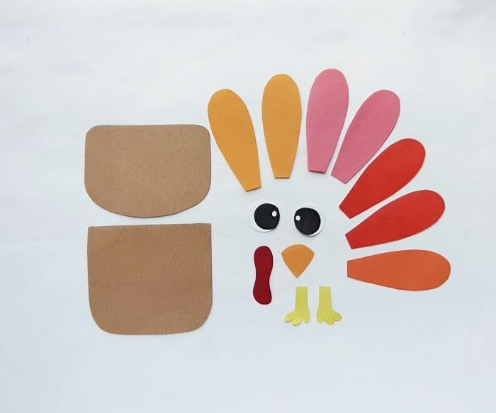 Paper Bag Turkey Puppet Craft step 1