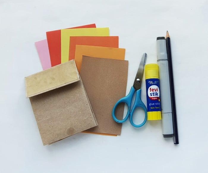 Paper Bag Turkey Puppet Craft supplies