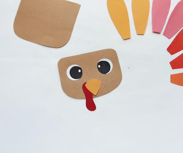 Paper Bag Turkey Puppet Craft step 2