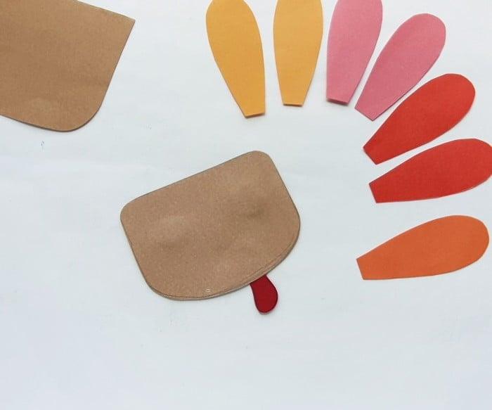 Paper Bag Turkey Puppet Craft step 3