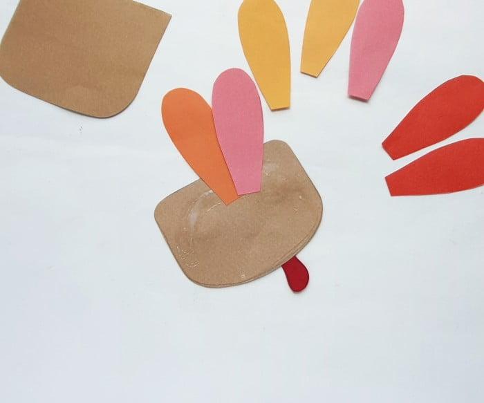 Paper Bag Turkey Puppet Craft step 4