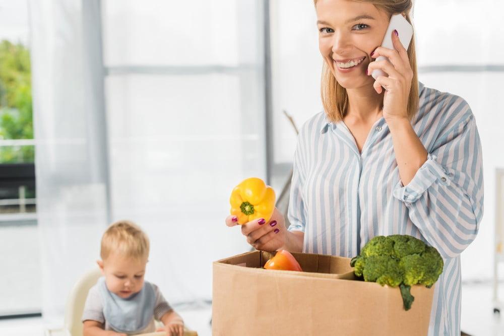 Woman unpacking groceries